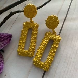 Jewelry - Yellow Rectangle Textured Drop Alloy Earrings